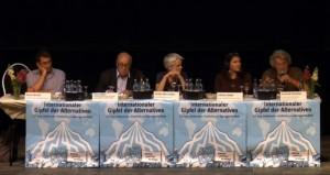 von links nach rechts: Sinan Birdal, Jean Ziegler, Ulrike Herrmann, Liliana Uribe, Conrad Schfuhler