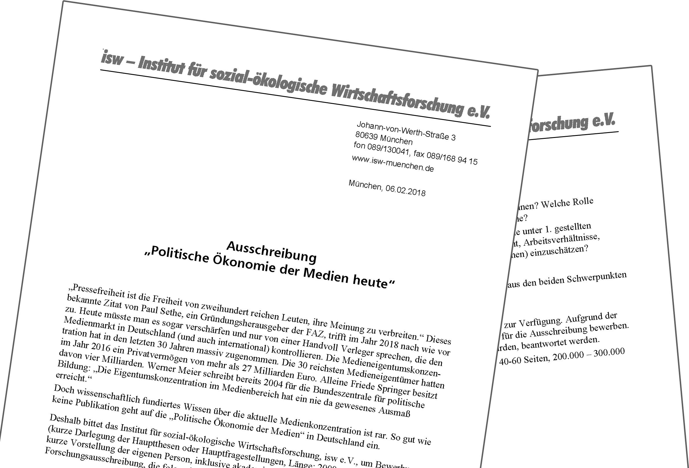 """Ausschreibung: """"Politische Ökonomie der Medien heute"""""""
